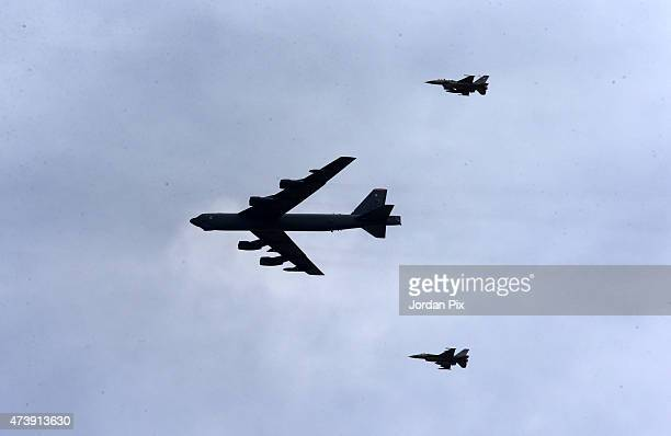 Stratofortress and F16 jets arrive to participate in the final counter attack at Jordanian exercises with 18 nations including the US as part of...