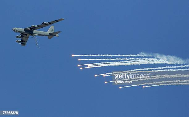 Stratofortress drops 500pound bombs and flares during a U S Air Force firepower demonstration at the Nevada Test and Training Range September 14 2007...