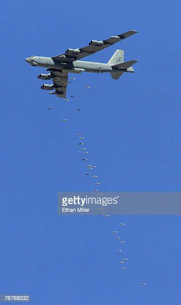 Stratofortress drops 500pound bombs during a U S Air Force firepower demonstration at the Nevada Test and Training Range September 14 2007 near...