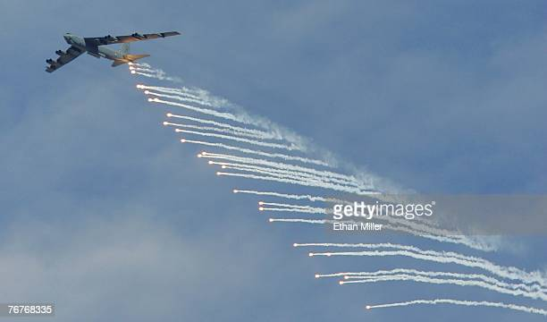 Stratofortress drops flares during a U S Air Force firepower demonstration at the Nevada Test and Training Range September 14 2007 near Indian...
