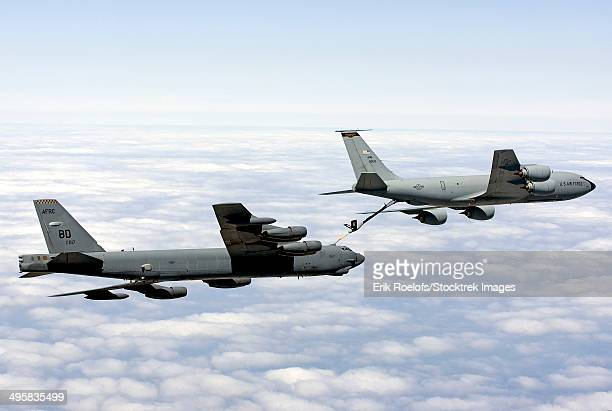 A B-52H Stratofortress refuels with a KC-135R Stratotanker.