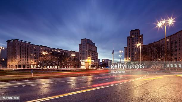 Strausberger Platz in Berlin after sunset