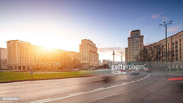 Strausberger Platz in Berlin at sunset