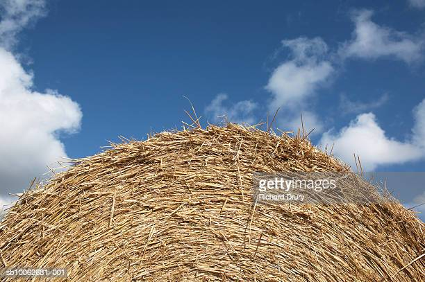 straw bale against sky, close-up, low angle view - richard drury stock pictures, royalty-free photos & images
