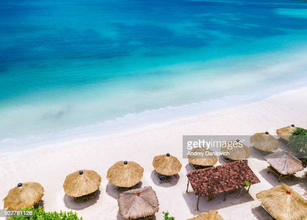straw beach umbrellas and blue ocean. beach scene from above - tourist resort stock pictures, royalty-free photos & images