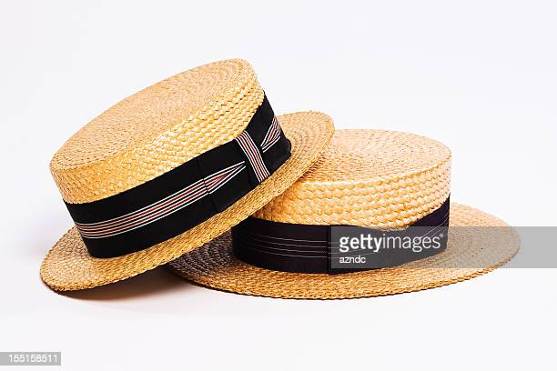straw boater hats - straw boater hat stock pictures, royalty-free photos & images
