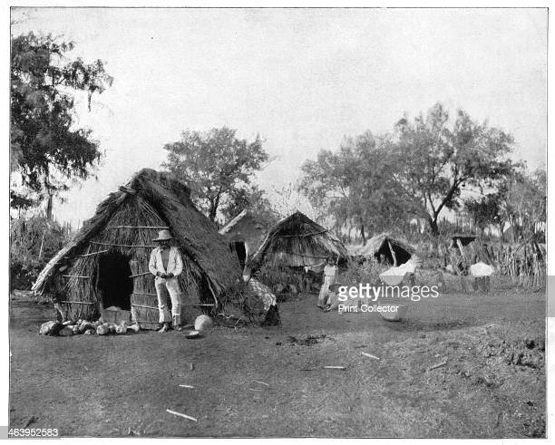 Straw cottages, Salamanca, Mexico, late 19th century. Traditional dwellings of the Tarascan people in the state of Guanajuato. Photograph from...