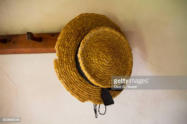 Straw hat detail, Village Historique Acadien, Caraquet, New Brunswick, Canada