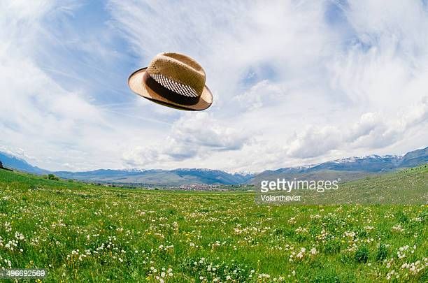 Straw hat flying over a meadow w/ wildflowers