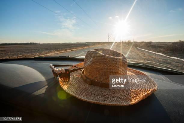 straw hat in the car - 夏休み ストックフォトと画像