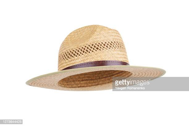straw hat isolated on white background - straw hat stock pictures, royalty-free photos & images