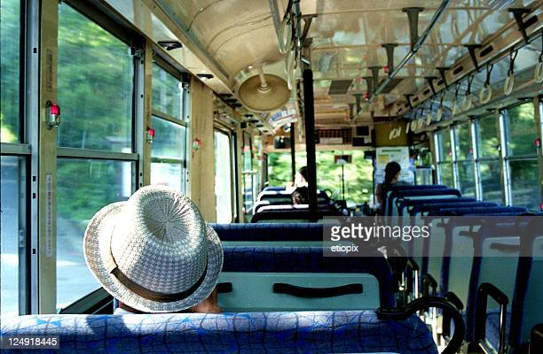 Straw hat person sitting on bus