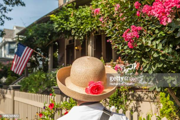 straw hat with flower - cape may stock pictures, royalty-free photos & images