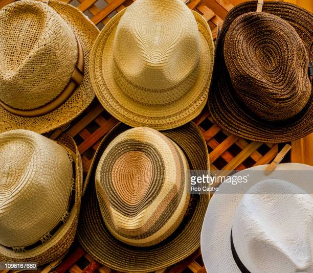 straw hats - rob castro stock pictures, royalty-free photos & images