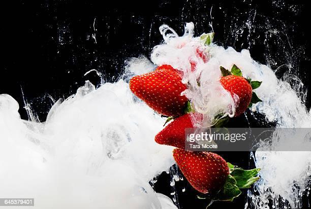 strawberries and cream shot underwater