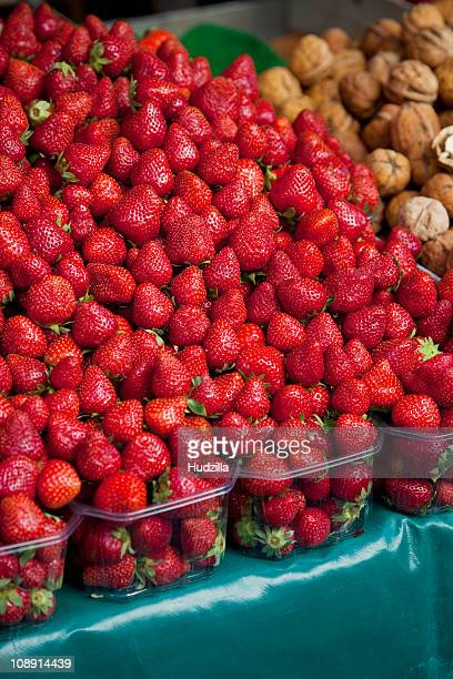Strawberries at an outdoor market