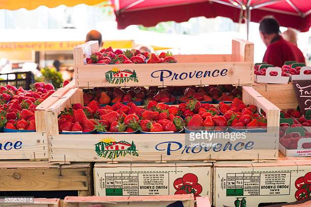 Strawberries at market in France
