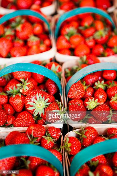 strawberries at the market - leckert stock pictures, royalty-free photos & images