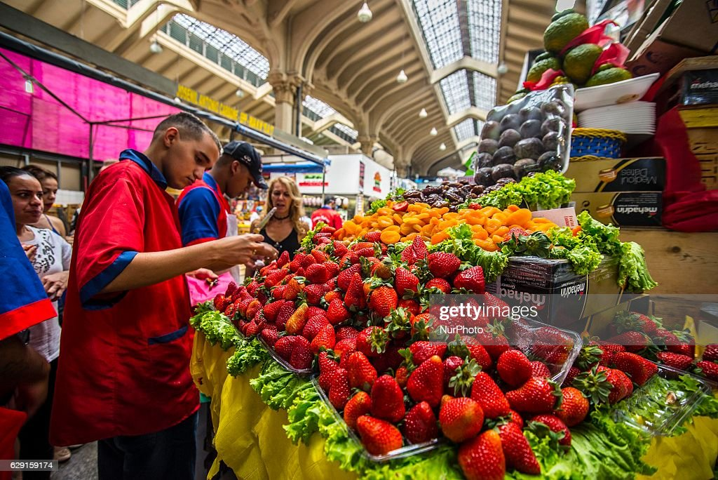 Strawberries at the Municipal Market (Mercadao), in Sao Paulo, Brazil on 11 December 2016. In addition to the items of vegetables, butcher, fishmonger and emporium (national and imported) gathered in a single space, also has restaurants and snack bars that offer chips with the city's face.