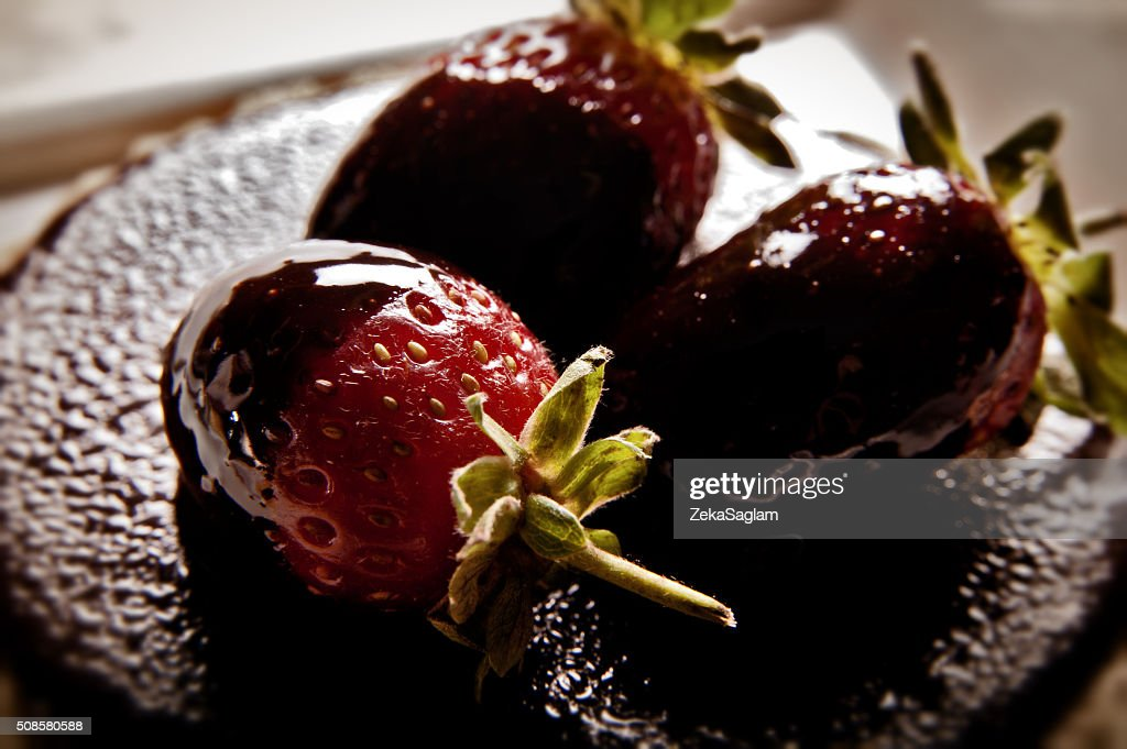 Strawberries, Chocolate, Cake : Stock Photo