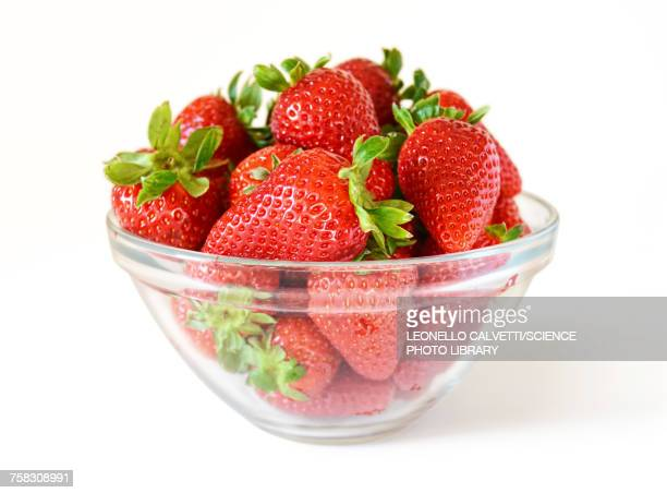 strawberries in bowl - bowl stock pictures, royalty-free photos & images