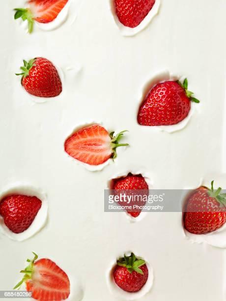 Strawberries in yoghurt