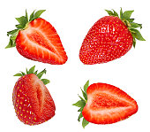 Strawberries isolated on white background with clipping path