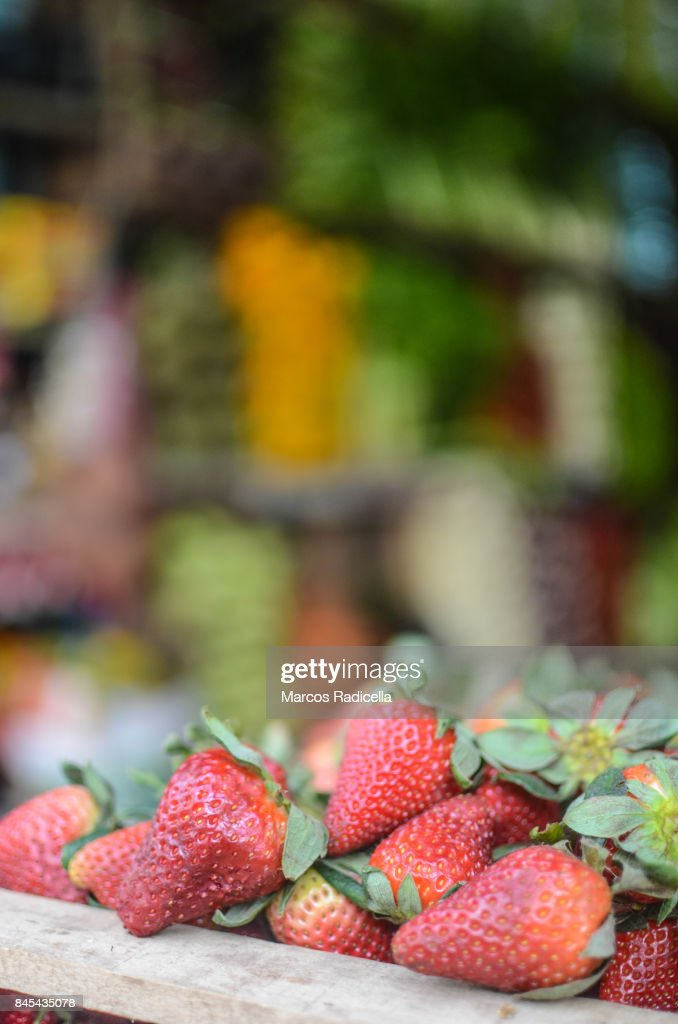 Strawberries on a grocery in Buenos Aires : Stock Photo