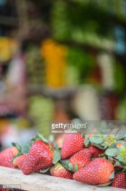 strawberries on a grocery in buenos aires - radicella stock pictures, royalty-free photos & images