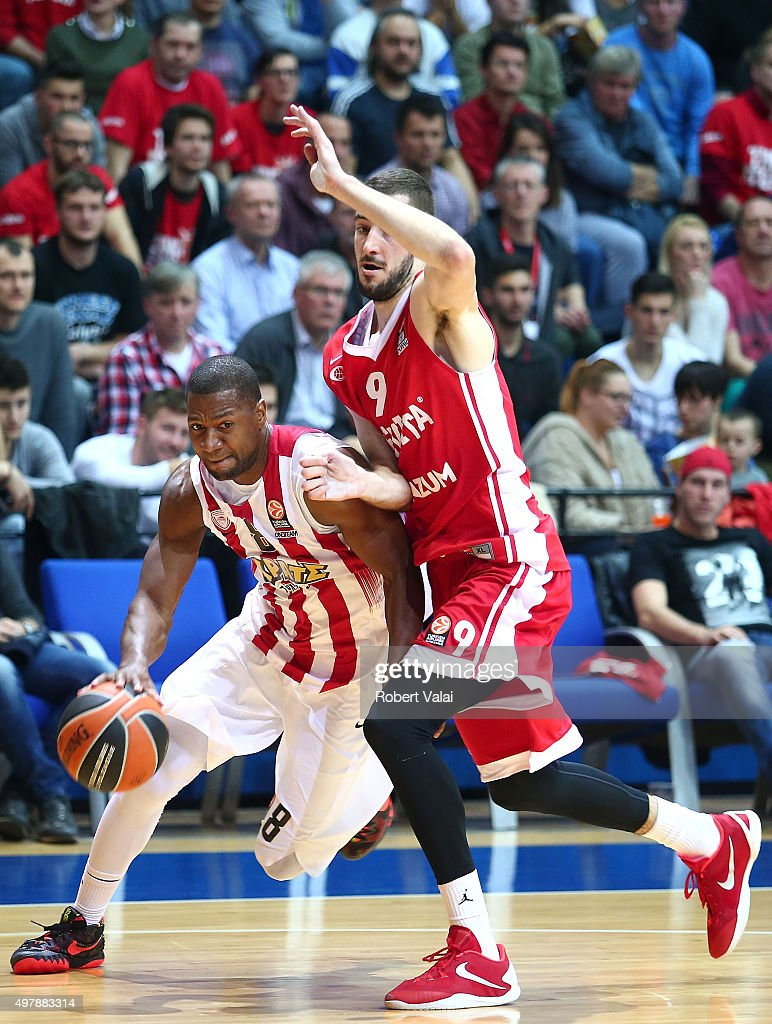 D.J. Strawberry, #8 of Olympiacos Piraeus competes with Luka Babic, #9 of Cedevita Zagreb during the Turkish Airlines Euroleague Regular Season Round 6 game between Cedevita Zagreb v Olympiacos Piraeus at Drazen Petrovic Zagreb on November 19, 2015 in Zagreb, Croatia.