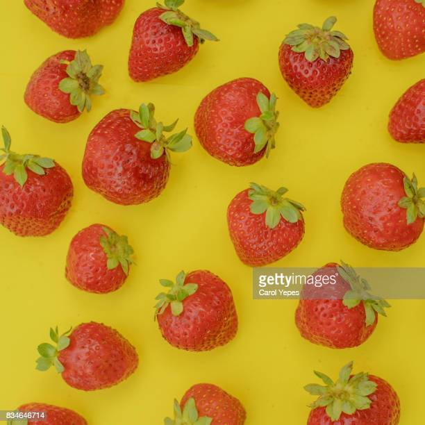 strawberry background in yellow