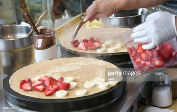 Strawberry Banana Pancake preparation