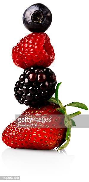 strawberry, blackberry, rasberry and a blueberry b - blackberry fruit stock pictures, royalty-free photos & images
