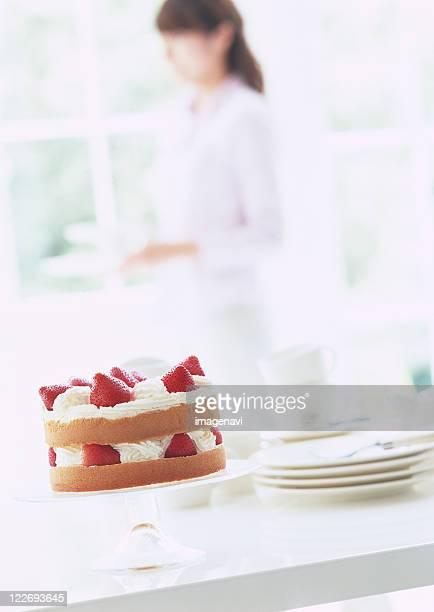 Strawberry cake on stand