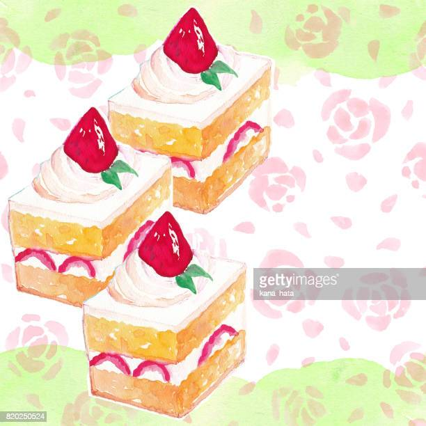 Strawberry cake watercolor illustration