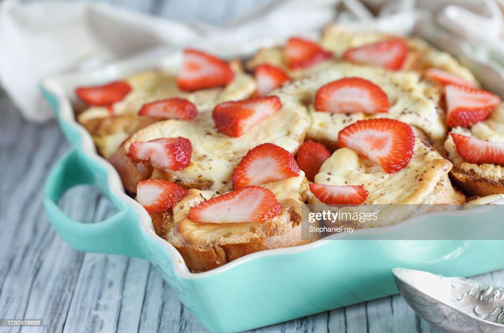 Strawberry Cheesecake French Toast Casserole : Stock Photo