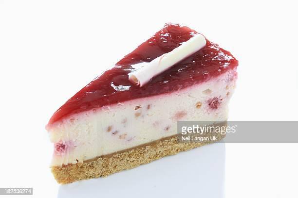 strawberry cheesecake slice on white