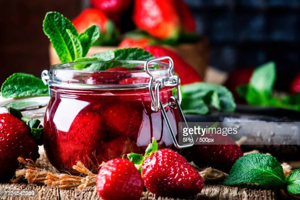 Strawberry Confiture With Whole Berries, Vintage Wooden Backgrou