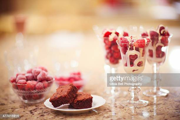 Strawberry Cream Pudding and Brownie