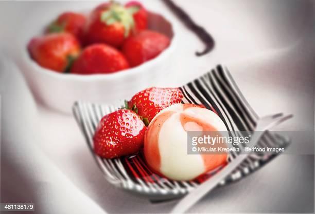 Strawberry creme fraiche Panna cotta dessert