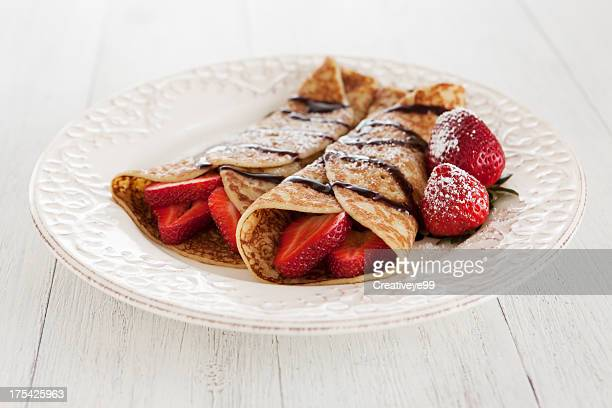 strawberry crepes dish - pancake stock pictures, royalty-free photos & images