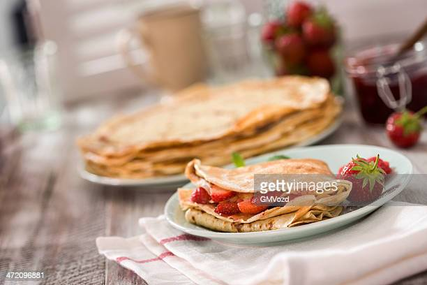 strawberry crepes - pancake stock pictures, royalty-free photos & images