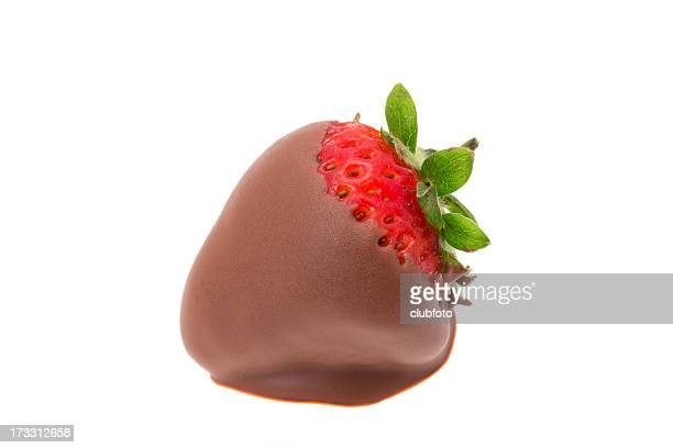 strawberry dipped in milk chocolate - chocolate dipped stock pictures, royalty-free photos & images