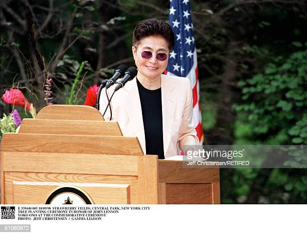 Strawberry Fields Central Park New York City Tree Planting Ceremony In Honor Of John Lennon Yoko Ono At The Commemorative Ceremony