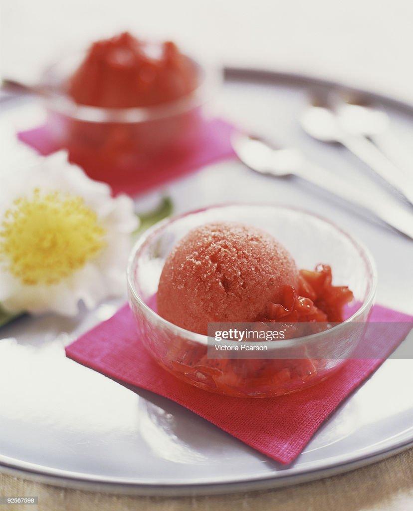Strawberry granita with fresh strawberries : Stock Photo