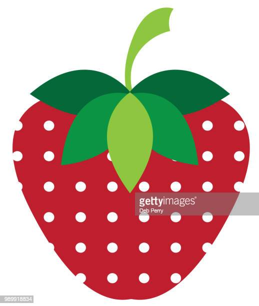 Strawberry illustration with dot pattern against a white background