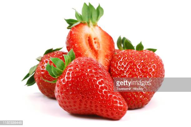 strawberry isolated on a white background - strawberry stock pictures, royalty-free photos & images