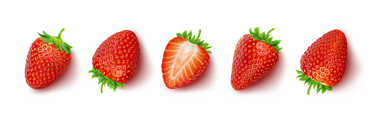 Strawberry isolated on white background with clipping path, top view 1145282070