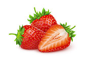 Strawberry isolated. Two and a half strawberries isolated on white background