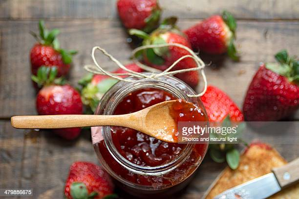 Strawberry jam, fresh strawberries